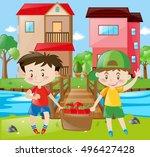 boys holding basket full of... | Shutterstock .eps vector #496427428