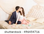 happy stylish couple hugging... | Shutterstock . vector #496454716