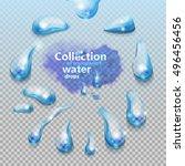 water. set of transparent water ... | Shutterstock .eps vector #496456456
