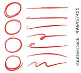 red hand drawn underlines and... | Shutterstock .eps vector #496457425