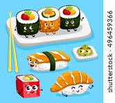 cartoon funny sushi food... | Shutterstock .eps vector #496459366