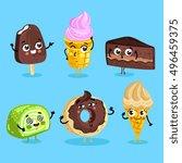 cartoon funny foods characters... | Shutterstock .eps vector #496459375