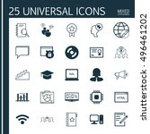 set of 25 universal icons on... | Shutterstock .eps vector #496461202