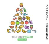 healthy foods pyramid.... | Shutterstock .eps vector #496461472