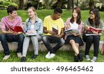 young diverse group studying... | Shutterstock . vector #496465462
