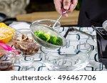 chef boiled broccoli in pot | Shutterstock . vector #496467706