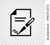 signing contract  icon | Shutterstock .eps vector #496471372