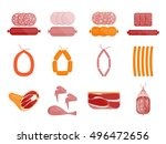 meat and sausage flat icon set. ... | Shutterstock .eps vector #496472656