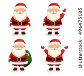 santa claus set. cartoon... | Shutterstock .eps vector #496475185