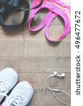 flat lay of healthy concept... | Shutterstock . vector #496477672