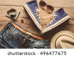 travel clothing accessories... | Shutterstock . vector #496477675