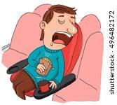 cartoon man sleeping while...   Shutterstock .eps vector #496482172