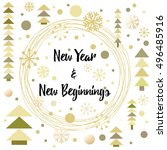 happy new year greeting card... | Shutterstock .eps vector #496485916