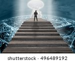 businessman climbed on top of... | Shutterstock . vector #496489192