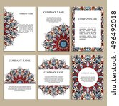 set of business cards. template ... | Shutterstock .eps vector #496492018