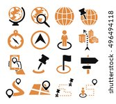 location  place icon set | Shutterstock .eps vector #496494118