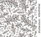 medicinal plants seamless... | Shutterstock .eps vector #496494946