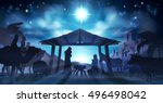christian christmas nativity... | Shutterstock .eps vector #496498042