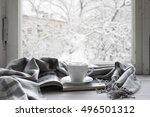 cozy winter still life  cup of... | Shutterstock . vector #496501312
