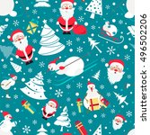 christmas seamless pattern.... | Shutterstock .eps vector #496502206