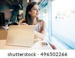 a caucasian female freelancer... | Shutterstock . vector #496502266