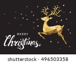 christmas low poly triangle... | Shutterstock .eps vector #496503358