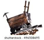 Wooden Trolley With A Pick...