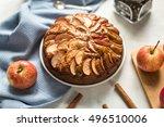 homemade apple pie with cinnamon | Shutterstock . vector #496510006