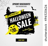 halloween sale dynamic banner... | Shutterstock .eps vector #496520626