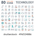 set vector line icons in flat... | Shutterstock .eps vector #496524886