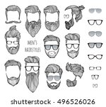 set of men's hairstyles  beards ... | Shutterstock .eps vector #496526026