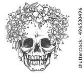 vector drawing dead skull with... | Shutterstock .eps vector #496530496