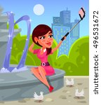vector illustration of a young... | Shutterstock .eps vector #496531672