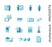 financial blue icons vector set ... | Shutterstock .eps vector #496533976