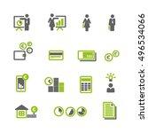 financial green gray icons... | Shutterstock .eps vector #496534066