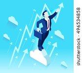 businessman win job. readiness...   Shutterstock .eps vector #496534858