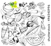 vector big set of fruits and... | Shutterstock .eps vector #496540996