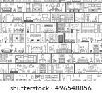 interior seamless pattern with... | Shutterstock .eps vector #496548856
