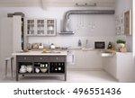 scandinavian kitchen  3d... | Shutterstock . vector #496551436