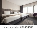 a hotel room  bedroom with... | Shutterstock . vector #496553806