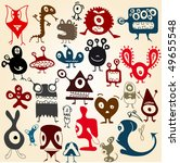 many cute doodle monsters set | Shutterstock .eps vector #49655548