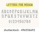 latin 3d doodle font. hand...   Shutterstock .eps vector #496556692