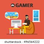 man sitting on beanbag holds...   Shutterstock .eps vector #496564222