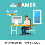 man sitting at home behind his... | Shutterstock .eps vector #496564228