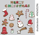 merry christmas set of...   Shutterstock .eps vector #496565296