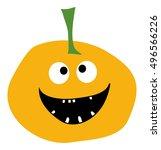 smiling pumpkin on a white... | Shutterstock .eps vector #496566226