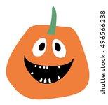 orange pumpkin vector halloween ... | Shutterstock .eps vector #496566238