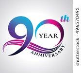 anniversary emblems 90 in... | Shutterstock .eps vector #496570492