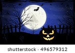 halloween night  vector... | Shutterstock .eps vector #496579312