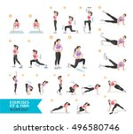 woman workout fitness  aerobic... | Shutterstock .eps vector #496580746